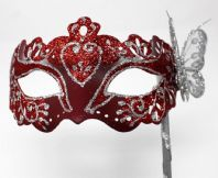 Red and Silver Butterfly Mask